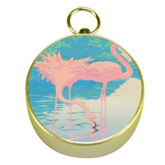 Two Pink Flamingos Pop Art Gold Compasses by WaltCurleeArt
