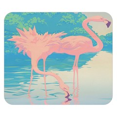Two Pink Flamingos Pop Art Double Sided Flano Blanket (small)  by WaltCurleeArt