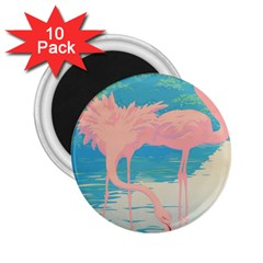 Two Pink Flamingos Pop Art 2 25  Magnets (10 Pack)  by WaltCurleeArt