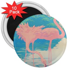 Two Pink Flamingos Pop Art 3  Magnets (10 Pack)  by WaltCurleeArt