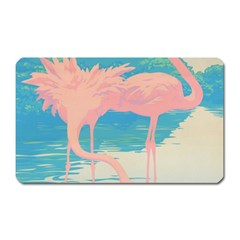Two Pink Flamingos Pop Art Magnet (rectangular) by WaltCurleeArt