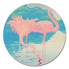 Two Pink Flamingos Pop Art Magnet 5  (round) by WaltCurleeArt