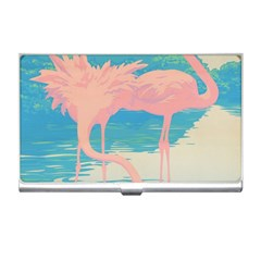 Two Pink Flamingos Pop Art Business Card Holders by WaltCurleeArt