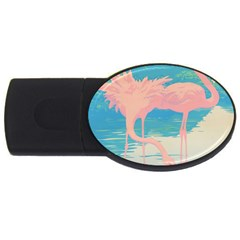 Two Pink Flamingos Pop Art Usb Flash Drive Oval (2 Gb)  by WaltCurleeArt