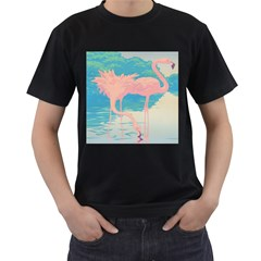 Two Pink Flamingos Pop Art Men s T-shirt (black) (two Sided) by WaltCurleeArt