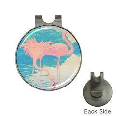 Two Pink Flamingos Pop Art Hat Clips With Golf Markers by WaltCurleeArt