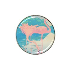 Two Pink Flamingos Pop Art Hat Clip Ball Marker by WaltCurleeArt