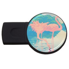 Two Pink Flamingos Pop Art Usb Flash Drive Round (4 Gb)  by WaltCurleeArt