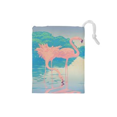 Two Pink Flamingos Pop Art Drawstring Pouches (small)  by WaltCurleeArt