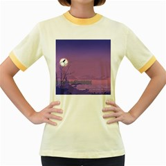 Abstract Tropical Birds Purple Sunset  Women s Fitted Ringer T-shirts by WaltCurleeArt