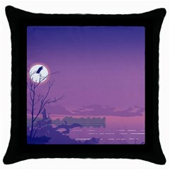 Abstract Tropical Birds Purple Sunset  Throw Pillow Case (black) by WaltCurleeArt