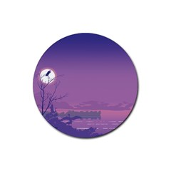 Abstract Tropical Birds Purple Sunset  Rubber Round Coaster (4 Pack)  by WaltCurleeArt