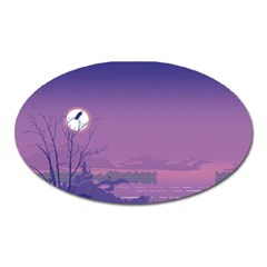 Abstract Tropical Birds Purple Sunset  Oval Magnet by WaltCurleeArt