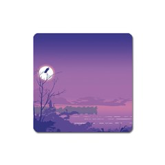 Abstract Tropical Birds Purple Sunset  Square Magnet by WaltCurleeArt