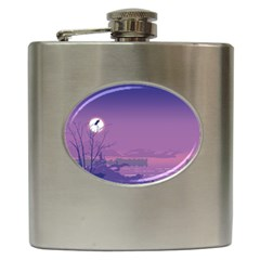 Abstract Tropical Birds Purple Sunset  Hip Flask (6 Oz) by WaltCurleeArt