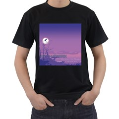Abstract Tropical Birds Purple Sunset  Men s T-shirt (black) (two Sided) by WaltCurleeArt