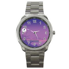 Abstract Tropical Birds Purple Sunset  Sport Metal Watch by WaltCurleeArt
