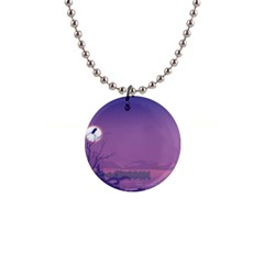 Abstract Tropical Birds Purple Sunset  Button Necklaces by WaltCurleeArt