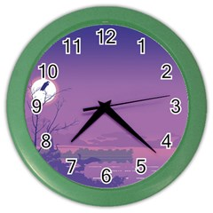 Abstract Tropical Birds Purple Sunset  Color Wall Clocks by WaltCurleeArt