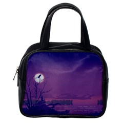 Abstract Tropical Birds Purple Sunset  Classic Handbags (one Side) by WaltCurleeArt