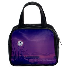 Abstract Tropical Birds Purple Sunset  Classic Handbags (2 Sides) by WaltCurleeArt