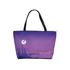 Abstract Tropical Birds Purple Sunset  Shoulder Handbags by WaltCurleeArt