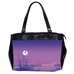Abstract Tropical Birds Purple Sunset  Office Handbags (2 Sides)  by WaltCurleeArt