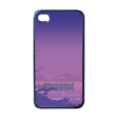 Abstract Tropical Birds Purple Sunset  Apple Iphone 4 Case (black) by WaltCurleeArt