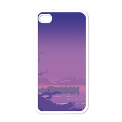 Abstract Tropical Birds Purple Sunset  Apple Iphone 4 Case (white) by WaltCurleeArt