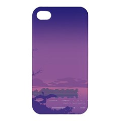 Abstract Tropical Birds Purple Sunset  Apple Iphone 4/4s Premium Hardshell Case by WaltCurleeArt