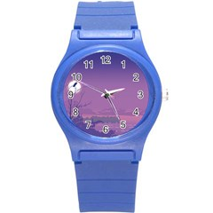 Abstract Tropical Birds Purple Sunset  Round Plastic Sport Watch (s) by WaltCurleeArt