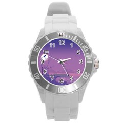 Abstract Tropical Birds Purple Sunset  Round Plastic Sport Watch (l) by WaltCurleeArt