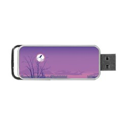 Abstract Tropical Birds Purple Sunset  Portable Usb Flash (one Side) by WaltCurleeArt