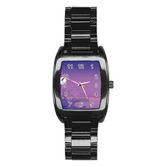 Abstract Tropical Birds Purple Sunset  Stainless Steel Barrel Watch by WaltCurleeArt