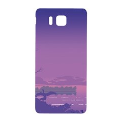 Abstract Tropical Birds Purple Sunset  Samsung Galaxy Alpha Hardshell Back Case by WaltCurleeArt