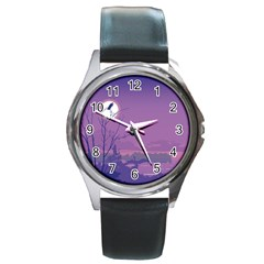 Abstract Tropical Birds Purple Sunset Round Metal Watch by WaltCurleeArt