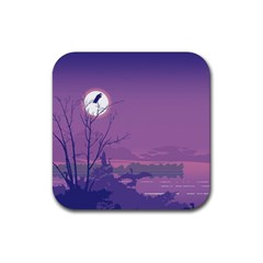 Abstract Tropical Birds Purple Sunset Rubber Square Coaster (4 Pack)  by WaltCurleeArt