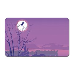 Abstract Tropical Birds Purple Sunset Magnet (rectangular) by WaltCurleeArt