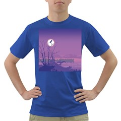 Abstract Tropical Birds Purple Sunset Dark T-shirt by WaltCurleeArt