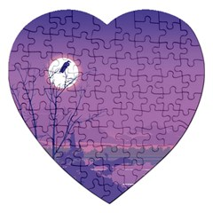Abstract Tropical Birds Purple Sunset Jigsaw Puzzle (heart) by WaltCurleeArt