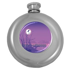 Abstract Tropical Birds Purple Sunset Round Hip Flask (5 Oz) by WaltCurleeArt