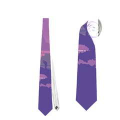 Abstract Tropical Birds Purple Sunset Neckties (one Side)  by WaltCurleeArt