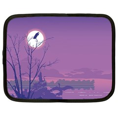 Abstract Tropical Birds Purple Sunset Netbook Case (large) by WaltCurleeArt