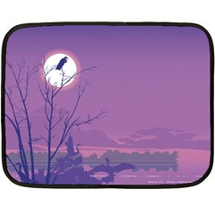 Abstract Tropical Birds Purple Sunset Double Sided Fleece Blanket (mini)  by WaltCurleeArt