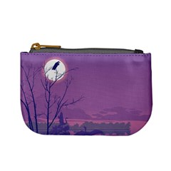 Abstract Tropical Birds Purple Sunset Mini Coin Purses by WaltCurleeArt