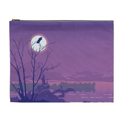 Abstract Tropical Birds Purple Sunset Cosmetic Bag (xl) by WaltCurleeArt