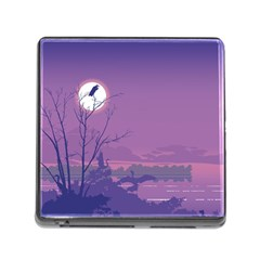 Abstract Tropical Birds Purple Sunset Memory Card Reader (square) by WaltCurleeArt