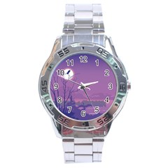 Abstract Tropical Birds Purple Sunset Stainless Steel Analogue Watch by WaltCurleeArt