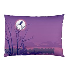 Abstract Tropical Birds Purple Sunset Pillow Case (two Sides) by WaltCurleeArt