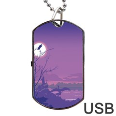 Abstract Tropical Birds Purple Sunset Dog Tag Usb Flash (one Side) by WaltCurleeArt